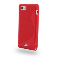 Soft Plastic Case for Sony Xperia J ST26 (Red S Shape Pattern)