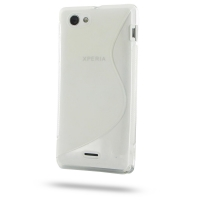 Soft Plastic Case for Sony Xperia J ST26 (Translucent S Shape Pattern)