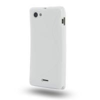 Soft Plastic Case for Sony Xperia J ST26 (White S Shape Pattern)