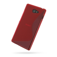 Sony Xperia M2 Soft Case (Red S Shape pattern) PDair Premium Hadmade Genuine Leather Protective Case Sleeve Wallet