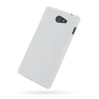 Sony Xperia M2 Soft Case (White S Shape pattern) PDair Premium Hadmade Genuine Leather Protective Case Sleeve Wallet