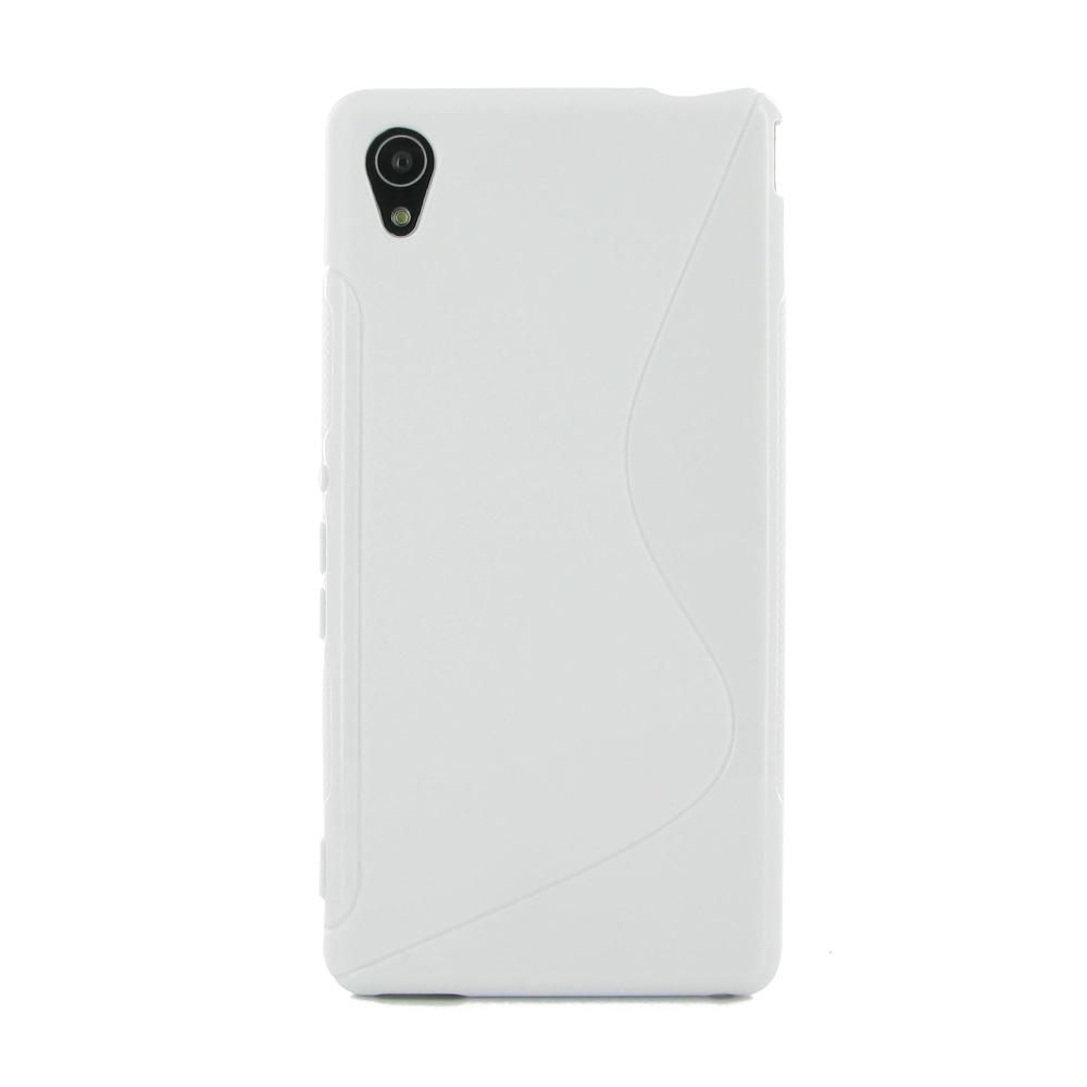 best service 19815 ac878 Soft Plastic Case for Sony Xperia M4 Aqua (White S Shape pattern)