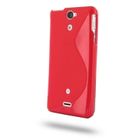 Soft Plastic Case for Sony Xperia V LT25i (Red S Shape Pattern)