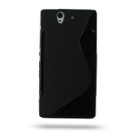 Soft Plastic Case for Sony Xperia Z L36H (Black S Shape Pattern)