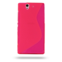 Soft Plastic Case for Sony Xperia Z L36H (Pink S Shape Pattern)
