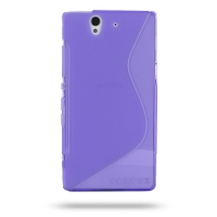 Soft Plastic Case for Sony Xperia Z L36H (Purple S Shape Pattern)
