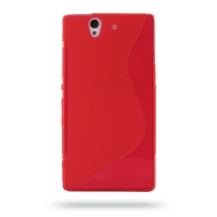 Soft Plastic Case for Sony Xperia Z L36H (Red S Shape Pattern)