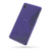 Sony Xperia Z2 Soft Case (Purple S Shape pattern) PDair Premium Hadmade Genuine Leather Protective Case Sleeve Wallet
