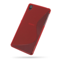 Sony Xperia Z2 Soft Case (Red S Shape pattern) PDair Premium Hadmade Genuine Leather Protective Case Sleeve Wallet