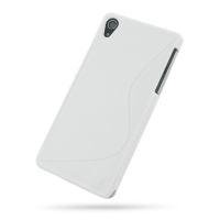 Sony Xperia Z2 Soft Case (White S Shape pattern) PDair Premium Hadmade Genuine Leather Protective Case Sleeve Wallet