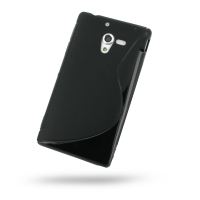 Soft Plastic Case for Sony Xperia ZL L35H (Black S Shape Pattern)