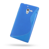 Soft Plastic Case for Sony Xperia ZL L35H (Blue S Shape Pattern)