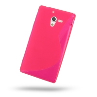 Soft Plastic Case for Sony Xperia ZL L35H (Pink S Shape Pattern)