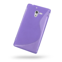 Soft Plastic Case for Sony Xperia ZL L35H (Purple S Shape Pattern)