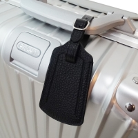 Travel Leather Luggage Tag (Black Pebble Leather/Black Stitch)