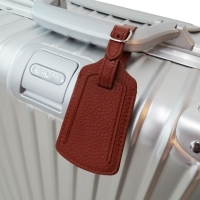 Travel Leather Luggage Tag (Brown Pebble Leather)