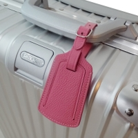 Travel Leather Luggage Tag (Petal Pink Pebble Leather)