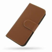 Ultra Thin Leather Book Case for Apple iPhone 5 | iPhone 5s (Brown)