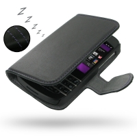 Ultra Thin Leather Book Case for BlackBerry Q10 (Purple Stitch)
