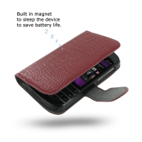 Ultra Thin Leather Book Case for BlackBerry Q10 (Red Crocodile Pattern)