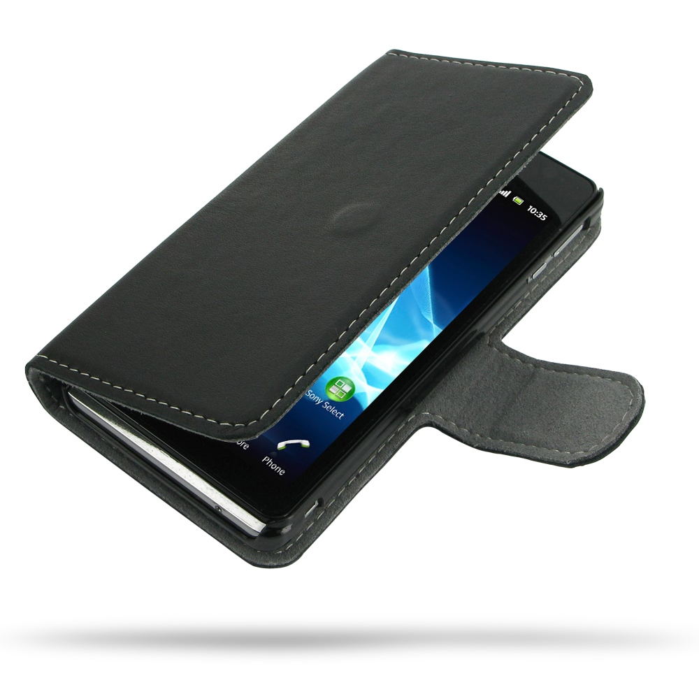 Sony Xperia V Leather Flip Cover Case PDair Premium Hadmade Genuine Leather Protective Case Sleeve Wallet
