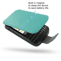 Ultra Thin Leather Flip Case for BlackBerry Q10 (Aqua)