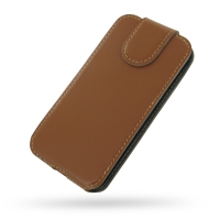 Ultra Thin Leather Flip Top Case for Apple iPhone 5 | iPhone 5s (Brown)