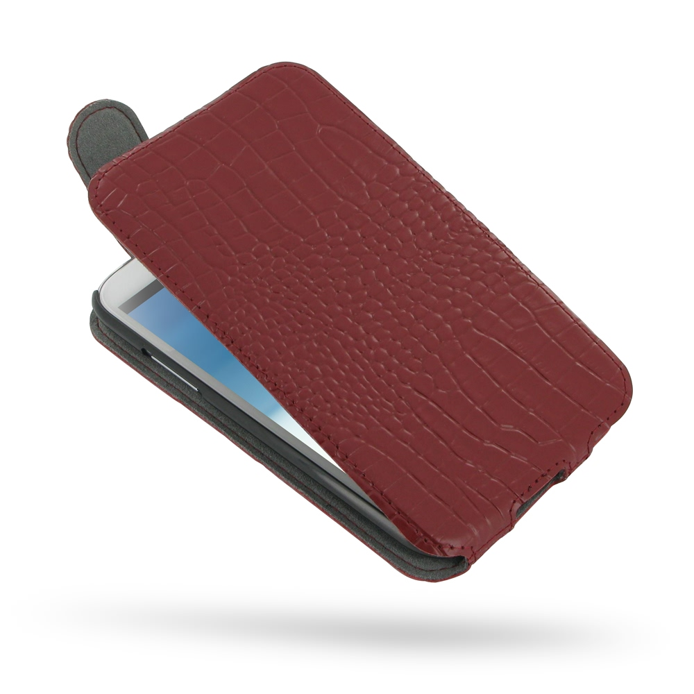 Samsung Galaxy Note 2 Leather Flip Top Cover (Red Croc Pattern) PDair Premium Hadmade Genuine Leather Protective Case Sleeve Wallet