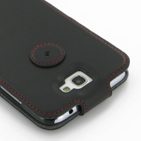Ultra Thin Leather Flip Top Case for Samsung Galaxy Note 2 | Samsung Galaxy Note2 | GT-N7100 (Red Stitch)