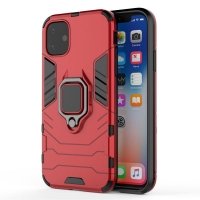 Armor Protective Case With Metal Magnetic Ring for Apple iPhone 11 (Red)