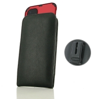 Leather Vertical Pouch Belt Clip Case for Apple iPhone 11 (in Large Size Armor Protective Case Cover) (Black Stitch)