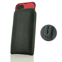 Leather Vertical Pouch Belt Clip Case for Apple iPhone 11 (in Large Size Armor Protective Case Cover) (Green Stitch)