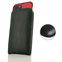 Leather Vertical Pouch Case for Apple iPhone 11 Pro (in Large Size Armor Protective Case Cover) (Black Stitch)
