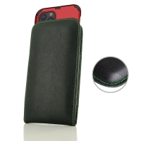 Leather Vertical Pouch Case for Apple iPhone 11 Pro (in Large Size Armor Protective Case Cover) (Green Stitch)