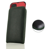 Leather Vertical Pouch Case for Apple iPhone 11 (in Large Size Armor Protective Case Cover) (Green Stitch)