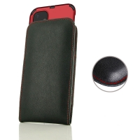 Leather Vertical Pouch Case for Apple iPhone 11 (in Large Size Armor Protective Case Cover) (Red Stitch)