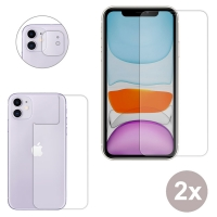 Premium Tempered Glass Film Screen Protector Set with Screen, Back and Camera Lens for Apple iPhone 11 (Pack of 2pcs)