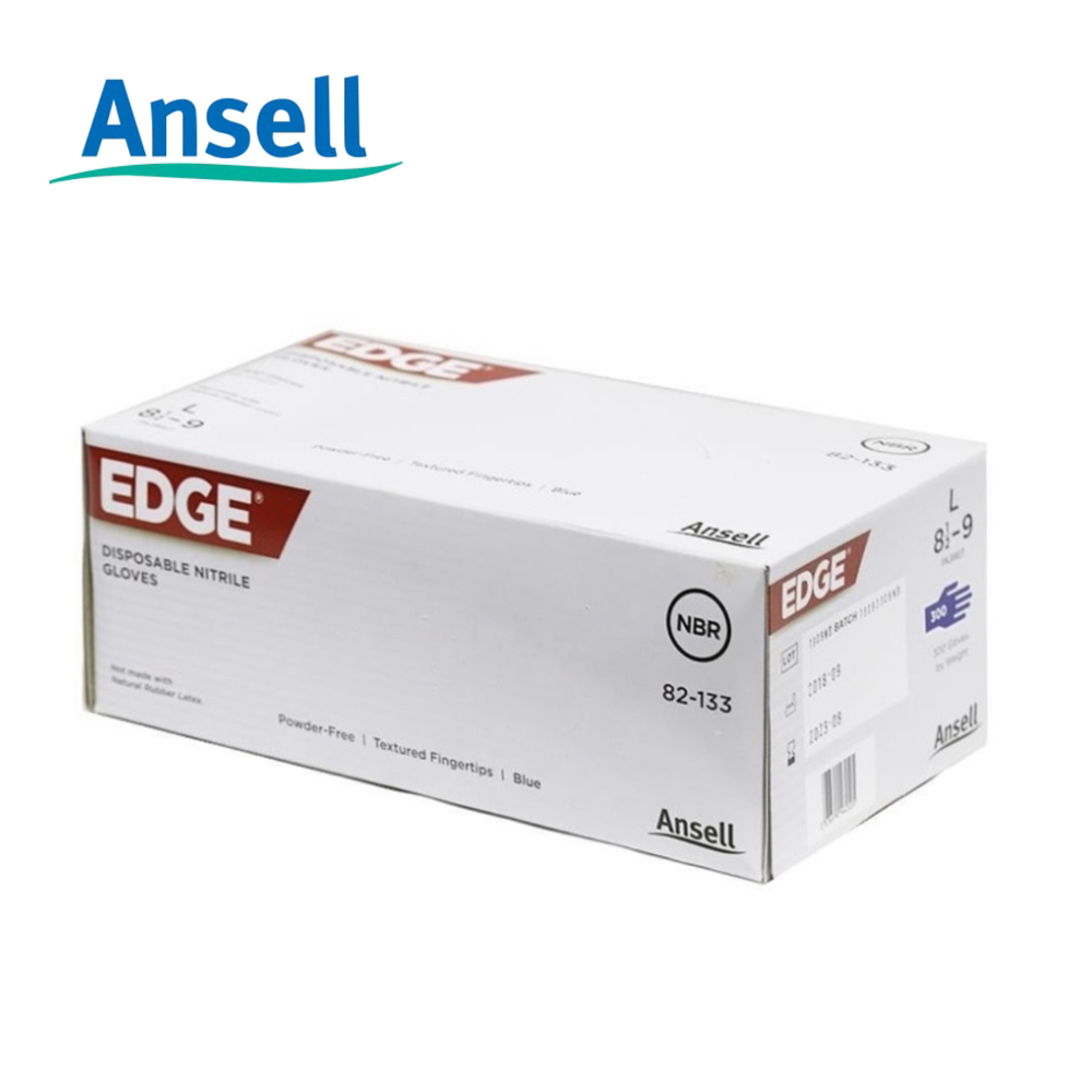 Ansell EDGE®  82-133 Disposable Nitrile Glove, FDA 21, EN 374, EN420, ISO 9001, ISO 13485, CE, 100% LC. It fulfills all food contact and medical requirements including the European, USA and International standards.