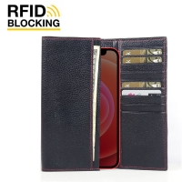 Continental Leather RFID Blocking Wallet Case for Apple iPhone 12 mini (Black Pebble Leather/Red Stitch)