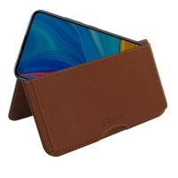 Leather Wallet Pouch for Huawei Enjoy 10 (Brown)