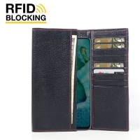 Continental Leather RFID Blocking Wallet Case for Huawei Honor V30 Pro (Black Pebble Leather/Red Stitch)