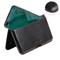Leather Wallet Pouch for Huawei Honor V30 Pro (Red Stitch)