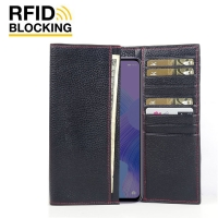 Continental Leather RFID Blocking Wallet Case for Huawei Nova 6 (Black Pebble Leather/Red Stitch)