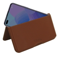 Leather Wallet Pouch for Huawei Nova 6 (Brown)