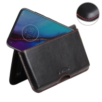 Leather Wallet Pouch for Motorola Moto G Stylus (Red Stitch)