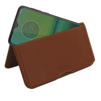 Leather Wallet Pouch for Motorola Moto G8 Play (Brown)