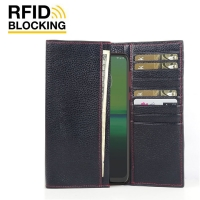 Continental Leather RFID Blocking Wallet Case for Motorola Moto G8 Play (Black Pebble Leather/Red Stitch)