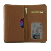 Leather Card Wallet for Motorola One Action (Brown)