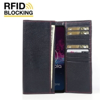 Continental Leather RFID Blocking Wallet Case for Motorola One Action (Black Pebble Leather/Red Stitch)