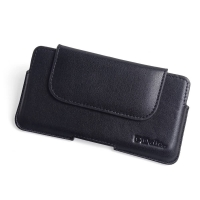 Luxury Leather Holster Pouch Case for Motorola One Vision (Black Stitch)